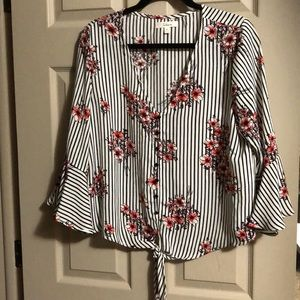 Striped vneck flowery tied blouse